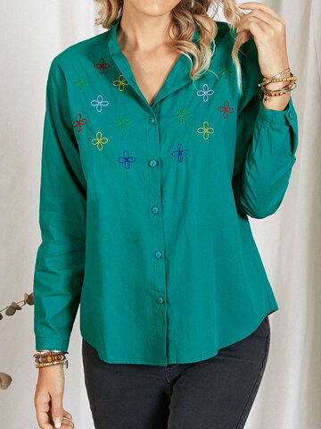 Floral Embroidery Long Sleeve Blouse