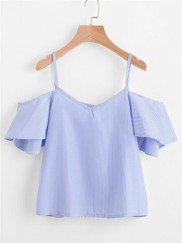 Spagehetti Strap Off-shoulder Ruffle Sleeve Tank Top