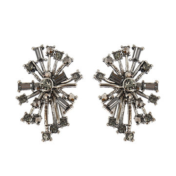 JASSY® Punk Snowflake Women Earrings Retro 18K Gold e Platinum Plated Crystal Rhinestone Ear Stud