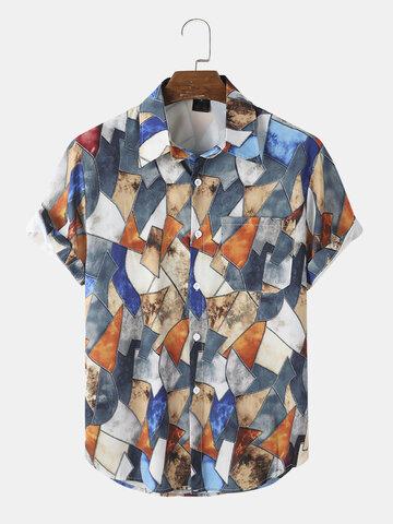 ポケット付き幾何学模様シャツ