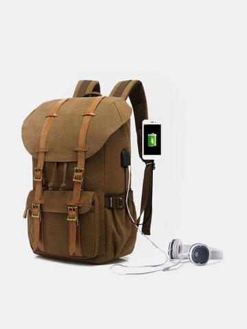 Genuine Leather And Canvas Retro USB Charging Earphone Hole Travel Outdoor Large Capacity Backpack