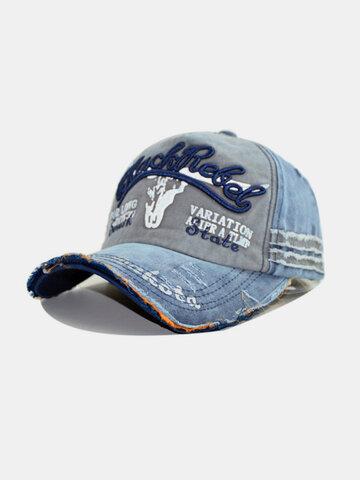 Washed Cotton Baseball Cap  Tattered Adjustable  Visor Cap