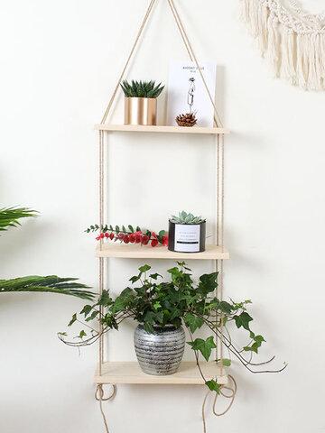 Nordic Hemp Rope Shelf Word Clapboard Wall Decoration Wooden Frame Retro Clapboard Soft Hemp Rope