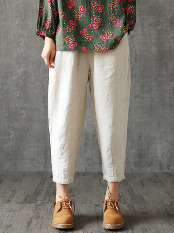 Vintage Solid Color Harem Pants