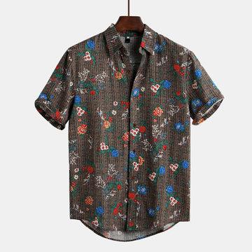 Floral Impresso Estilo Étnico Engraçado Havaiano Camisa