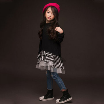 Girls Black Layered Dress Pour 4Y-15Y
