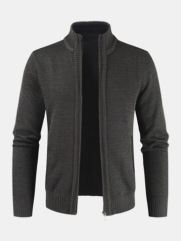 Ribbed Knit Zip Front Solid Cardigans