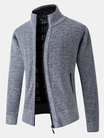 Rib-Knit Zip Front Cardigans