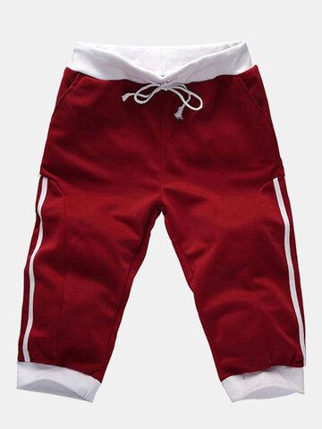 Mens Casual Running Drawstring Overknee Slim Fit Sports Cotton Pants