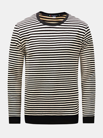 Mens Fall Winter Striped O-neck Long Sleeve Thicken Casual Cotton T-shirt