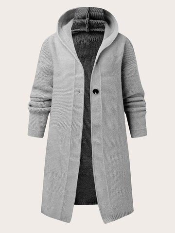 Solid Button Knitted Hooded Cardigan