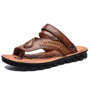 Men Non Slip Beach Casual Leather Sandals