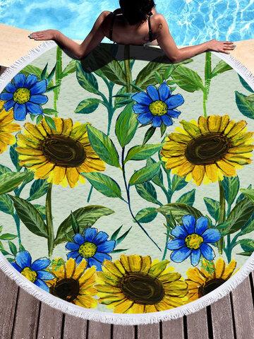 Sunflower Round Beach Towel Blanket Hawaii Hawaiian Tropical Large Microfiber Terry Beach Roundie Palm Circle Picnic Carpet Yoga Mat with Fringe