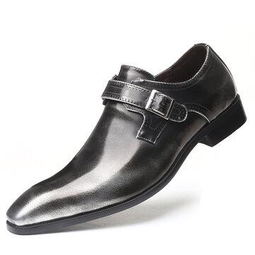 Men British Style Metal Buckle Slip On Formal Shoes