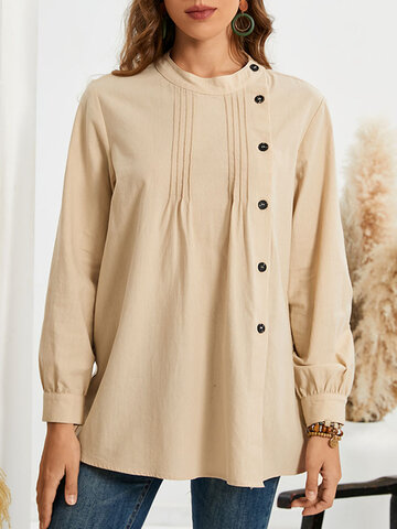 Solid Button Pleated Blouse