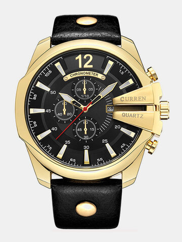 Big Dial Genuine Leather Watches