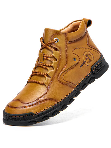 Men Hand Stitching Leather Boots