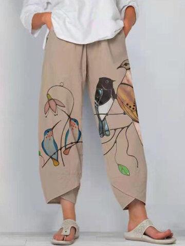 Birds Print Slit Hem Pants