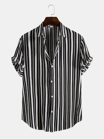 Black Stripe Print Casual Shirt