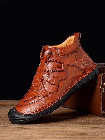Men Hand Stiching Wearable Non-slip Boots