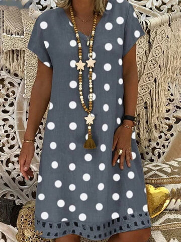 Bohemian Polka Dot Printed Midi Dress