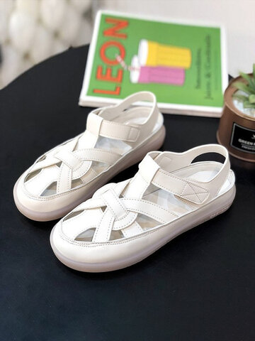 Summer Solid Color Hollow Out Closed Toe Sandals
