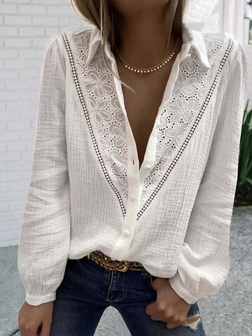 Floral Embroidery Button Blouse