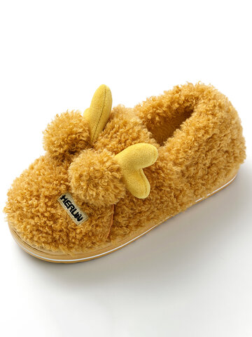 Cute Antlers Christmas Plush Home Slippers