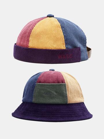 Unisex Color Contrast Patchwork Skull Cap Bucket Hat
