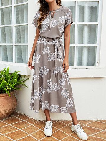 Leaves Print Belt Knotted Dress