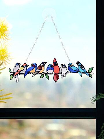 Festival Gift Multiple Birds Glass Window Hangings Garden Suncatcher Acrylic Ornaments Home Patio Yard Decor