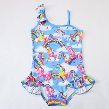 Girls Unicorn One Piece Swimsuit For 3-11Y