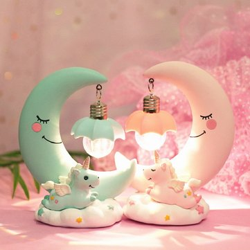 LED Unicorn Night Light Moon Lamp Luminaria Romantic Bedside Lamp Ideal Gifts