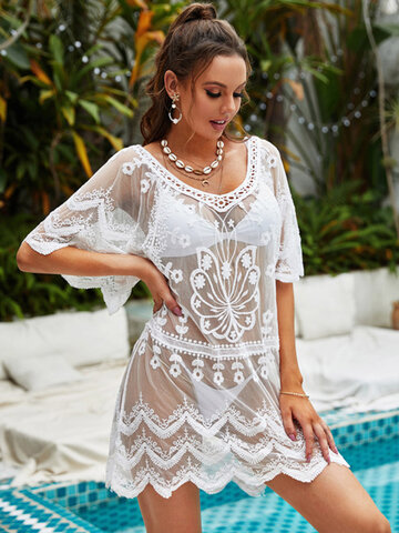 Lace Floral Jacquard Sheer Dress Cover Ups