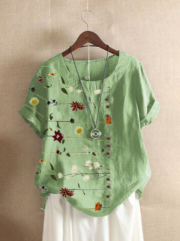Floral Print Button T-shirt