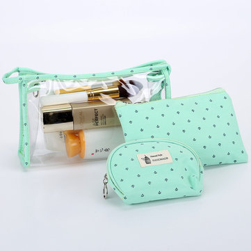 3Pcs PVC Transparent Cosmetic Bag