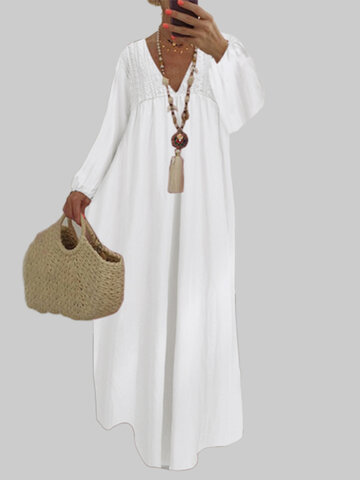 Lace Crochet V-neck Maxi Dress
