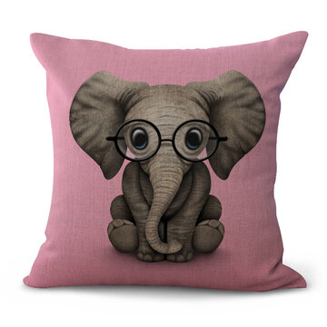 Cute Animal Pattern Cotton Linen Cushion Cover