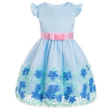 Flower Patched Girls Dress For 2Y-9Y