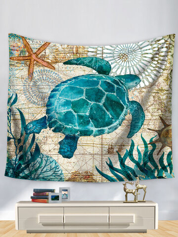 Sea Turtle Octopus Sea Horse Wall Hanging Tapestry