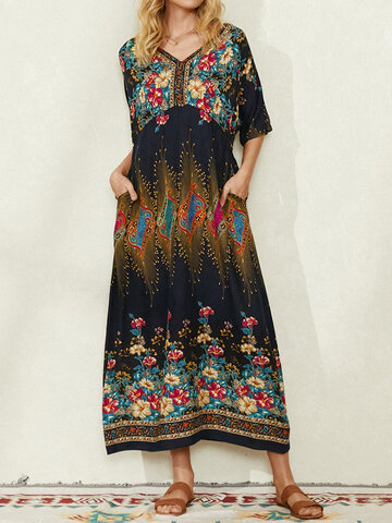 Bohemian Ethnic Floral Print Pocket Half Sleeve Casual Dress