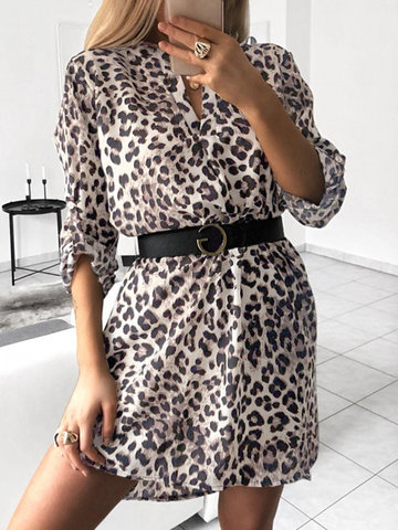 Leopard Animals Print V-neck Dress