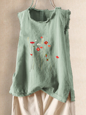 Embroidery Floral Sleeveless Tank Top