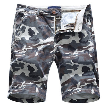 Mens Summer Cotton Breathable Camo Printed Knee Length Slim Fit Casual Shorts, Dark yellow gray army green