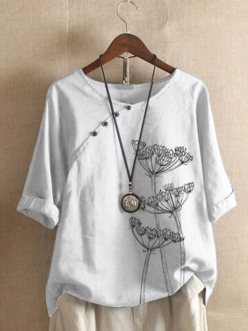 O-neck Flower Print T-Shirt