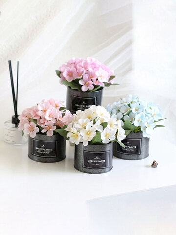 1PC Potted Begonia Artificial Flower Iron Pot Bonsai Home Office Garden Decor Artificial Green Leave Plant Decoration