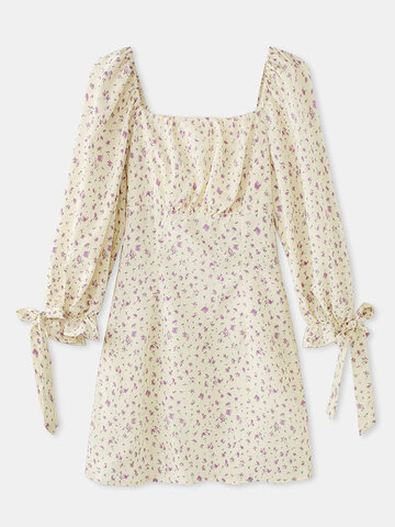 Floral Print Square Collar Dress
