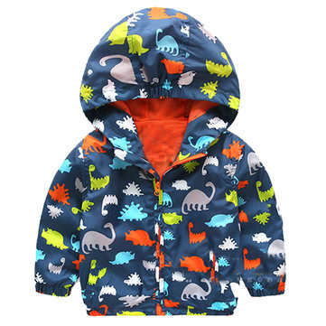 Cappotto con cappuccio in cotone stampa cartoon dinosauro