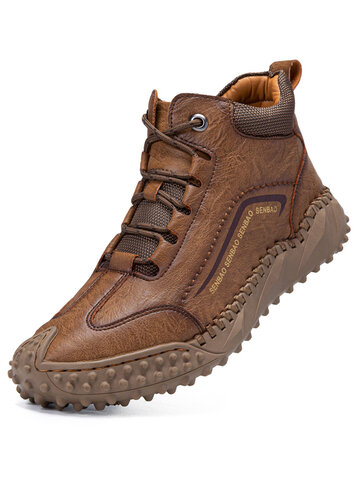 Men Stitching Work Style Ankle Boots