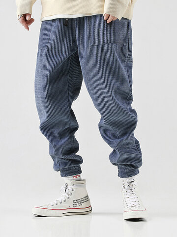 Mens Solid Color Corduroy Pants